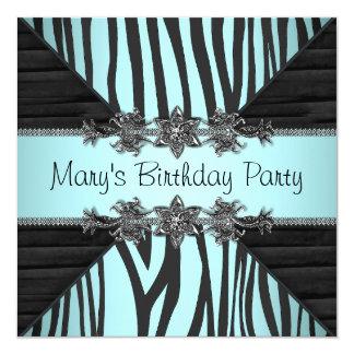 Der Geburtstags-Party der schwarzen aquamarines Quadratische 13,3 Cm Einladungskarte
