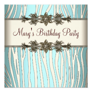 Der Geburtstags-Party Elfenbeinaquamarines der Quadratische 13,3 Cm Einladungskarte