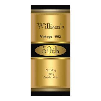 Der Geburtstags-Party-Goldschwarzes der Männer 50. 10,2 X 23,5 Cm Einladungskarte