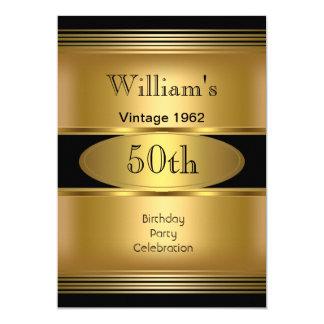 Der Geburtstags-Party-Goldschwarzes der Männer 50. Karte