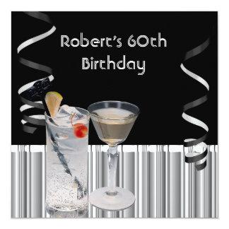 Der Geburtstags-Party-Schwarz-Silber-Getränke der Quadratische 13,3 Cm Einladungskarte