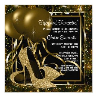 Der Geburtstags-Party schwarzes Goldder hohen Quadratische 13,3 Cm Einladungskarte