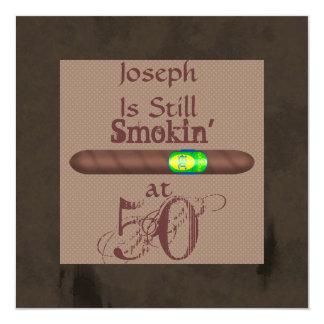 Der Geburtstags-Zigarren-Einladungen der Männer Quadratische 13,3 Cm Einladungskarte