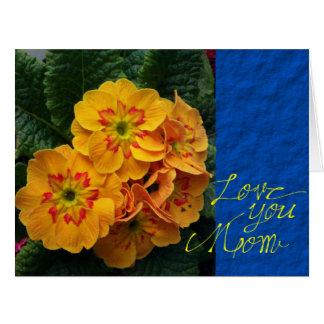 Der gelbe und blaue Blumentag der mutter Karte