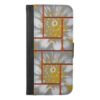 Der gelbes Wasser-Lilien-Quadrat-Muster-Entwurf iPhone 6/6s Plus Geldbeutel Hülle