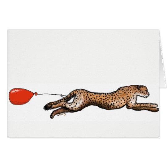 Der Gepard und die rote Ballon-Geburtstags-Karte Grußkarte