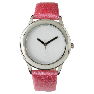 Der Glitter-Bügel-Uhr des Kindes rosa Armbanduhr
