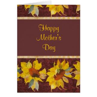 Der glückliche Tag der Mutter mit Sonnenblumen Karte