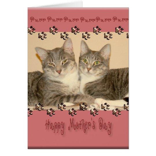Der glückliche Tag der Mutter mit zwei Katzen Karte