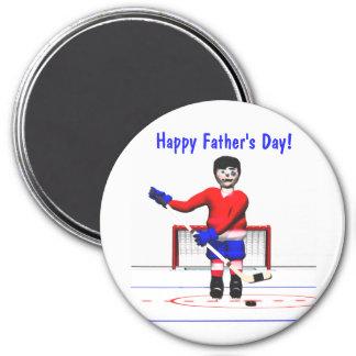 Der glückliche Vatertag Hockey- Runder Magnet 7,6 Cm