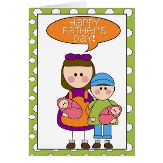 der glückliche Vatertag (Mädchen/Junge/Zwillinge) Grußkarte