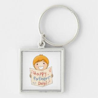 Der glückliche Vatertag! - Silberfarbener Quadratischer Schlüsselanhänger
