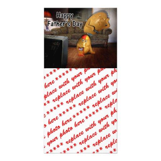 Der glückliche Vatertag - Stubenhocker-Vati schlaf Fotokartenvorlagen