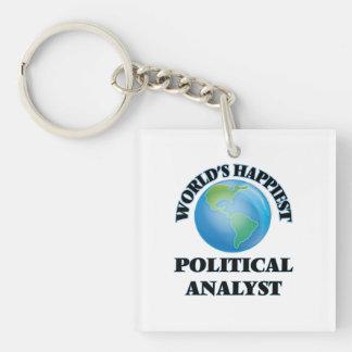 Der glücklichste politische Analyst der Welt Einseitiger Quadratischer Acryl Schlüsselanhänger