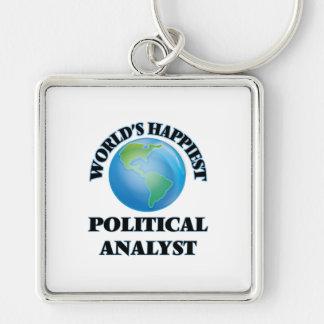 Der glücklichste politische Analyst der Welt Silberfarbener Quadratischer Schlüsselanhänger