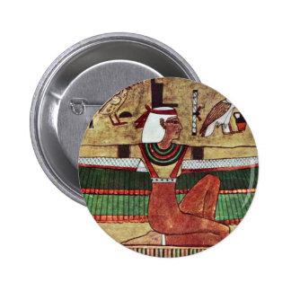 Der GöttinIsis, durch Ägyptischer Maler Um 1360 Runder Button 5,1 Cm