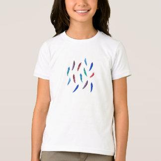 Der grundlegende T - Shirt der Mädchen mit Federn