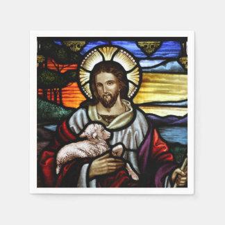 Der gute Hirte; Jesus auf Buntglas Servietten