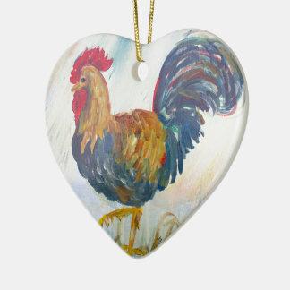 Der Hahn Keramik Herz-Ornament