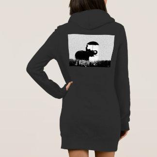 Der Hoodie-Kleid der Elefantregen Kunst-Frauen Kleid