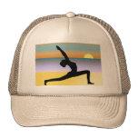 Der Hut der Strand-Yoga-Pose-Silhouette-Frauen Netzkappen