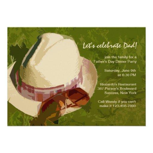 Der Hut-des Mannes der Vatertags-Einladung