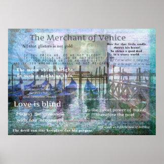 Der Kaufmann von Zitaten Venedigs Shakespeare Poster