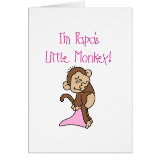 Der kleine Affe des Papas - rosa T-Shirts und Karte