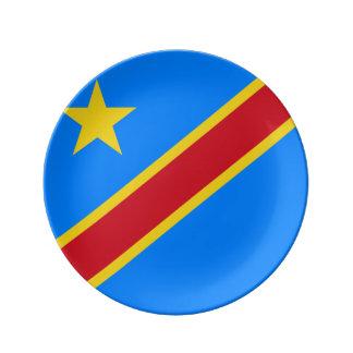 Der Kongo - Republik Kongos-Flagge Porzellanteller