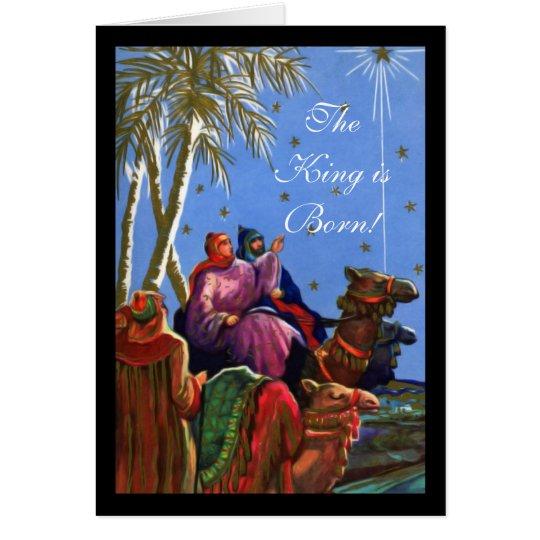 Der König ist geborene christliche Weihnachtskarte Grußkarte