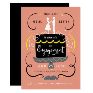 Der Kuchen-Deckel-Pfirsich-Verlobungs-Party des Karte