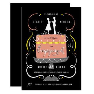Der Kuchen-Deckel-Verlobungs-Party Einladung des