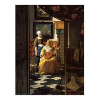 Der Liebebuchstabe durch Johannes Vermeer Postkarte