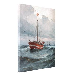 Der Lightship an der Skagen Riff-Malerei Leinwanddruck