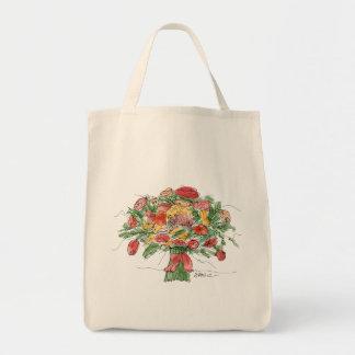 Der Markt-Tasche des hellen Blumenstrauß-Bauern Tragetasche