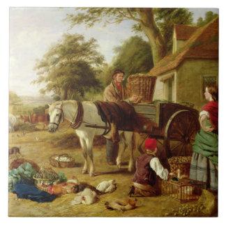 Der Markt-Wagen, 1864 (Öl auf Leinwand) Fliese
