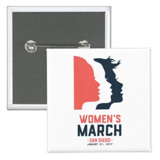 Der März-Knopf San Diego Frauen Quadratischer Button 5,1 Cm
