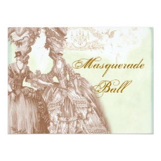 Der Maskerade-Ball, das aquamarin und Gold Karte