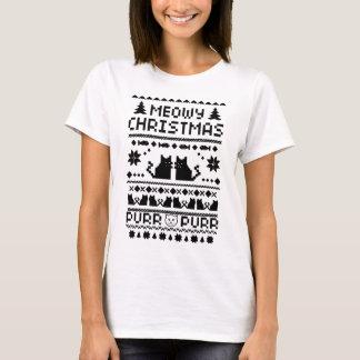 Der Meowy der Frauen Weihnachtshässlicher Katzen-T T-Shirt