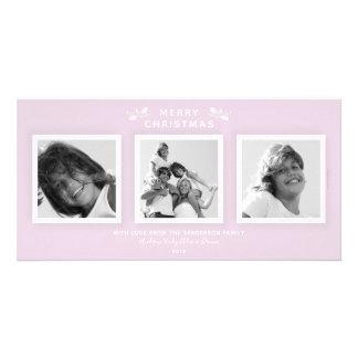 Der minimale Chic erblassen - Rosa drei Foto-frohe Karte