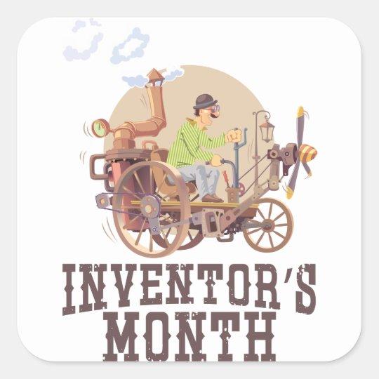 Der Monat des Erfinders Quadratischer Aufkleber