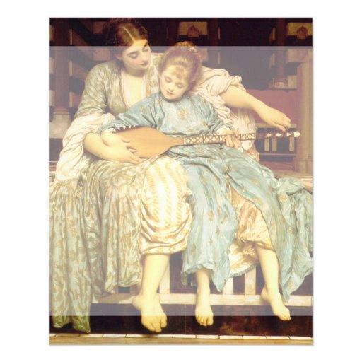 Der Musikunterricht durch Frederic Leighton Flyerdruck