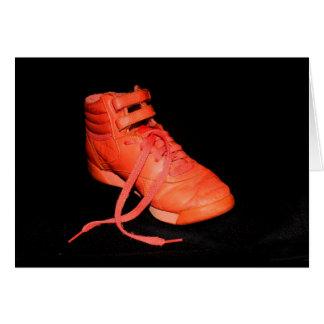 Der orange frohe Schuh ist es Weihnachten? Karte