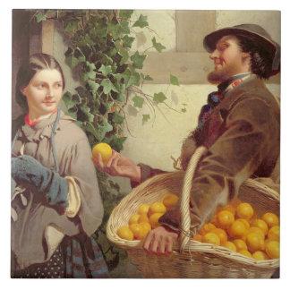 Der orange Verkäufer (Öl auf Leinwand) Keramikfliese