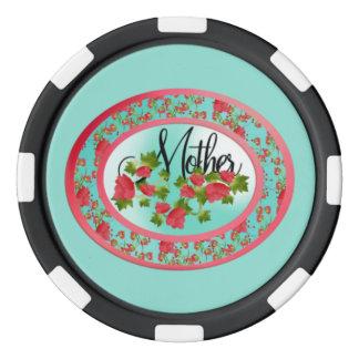 Der ovale Tag der Rosen-Mutter Poker Chips Set