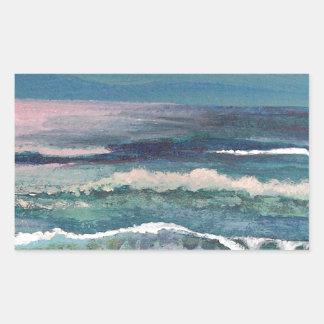 Der Ozean des Krickets - Strand-Meerblick Rechteckiger Aufkleber