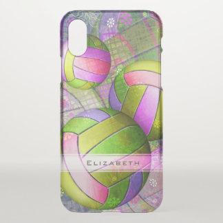 Der personalisierte Volleyball der rosa lila iPhone X Hülle