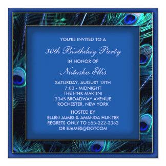 Der Pfau-Geburtstags-Party der königliches Quadratische 13,3 Cm Einladungskarte