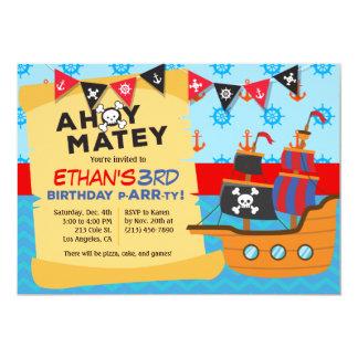 Der Piraten-Schiffs-Geburtstags-Party Einladung