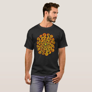 Der Power des Sun roten gelben Mandala T-Shirt